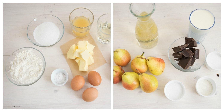 Weißwein-Birnen-Schoko-Torte-Collage