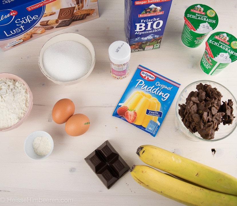 Bananensplit Torte Zutaten