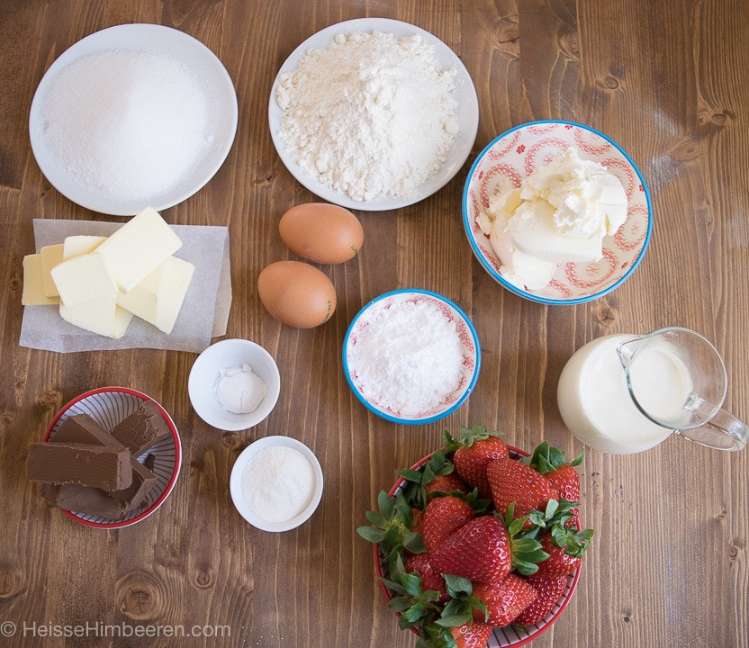 Erdbeer cupcakes Zutaten