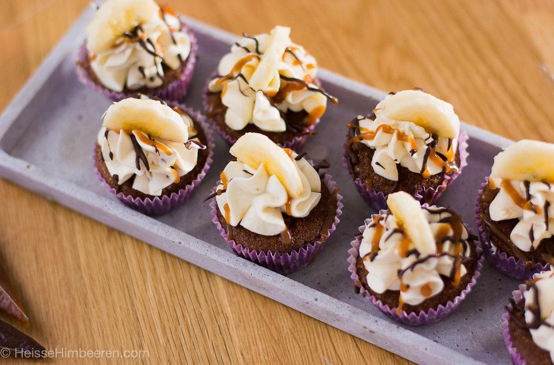 Schoko Bananen Karamell Cupcakes
