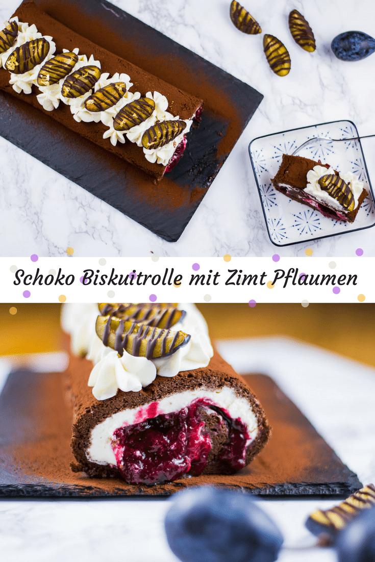 Spätsommer auf der Kuchengabel mit dieser saftigen Schokoladen Biskuitrolle, gefüllt mit Schlagsahne und super saftigen Zimt-Pflaumen mit einem Schuss braunem Rum.