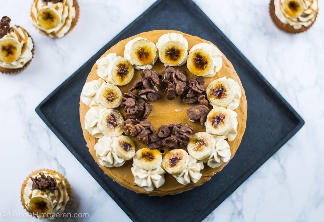 Bananen Törtchen mit Karamellisierter weißer Schokolade