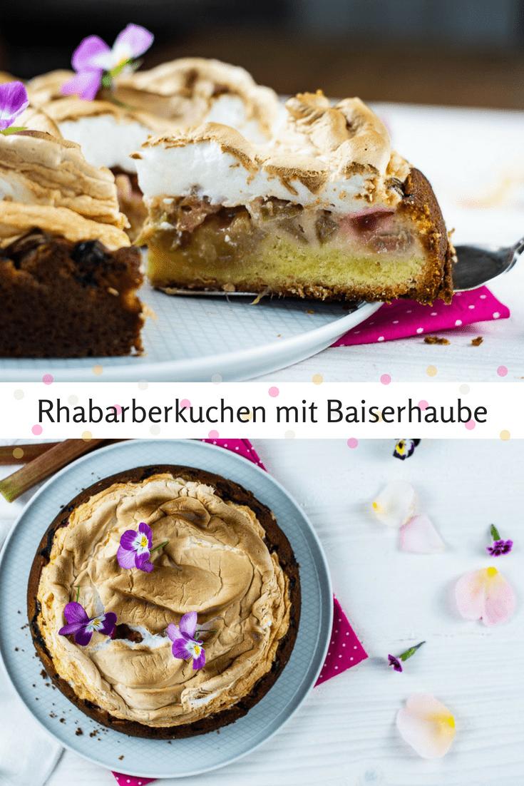 Saftiger Rhabarberkuchen mit frischem Rhabarber und einer cremigen Baiserhaube. Der perfekte Kuchen für schöne Frühlingstage und Rhabarberliebhaber. #kuchen #rhabarber #backen #rhabarberkuchen