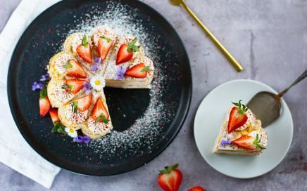 waffelkuchen mit erdbeeren