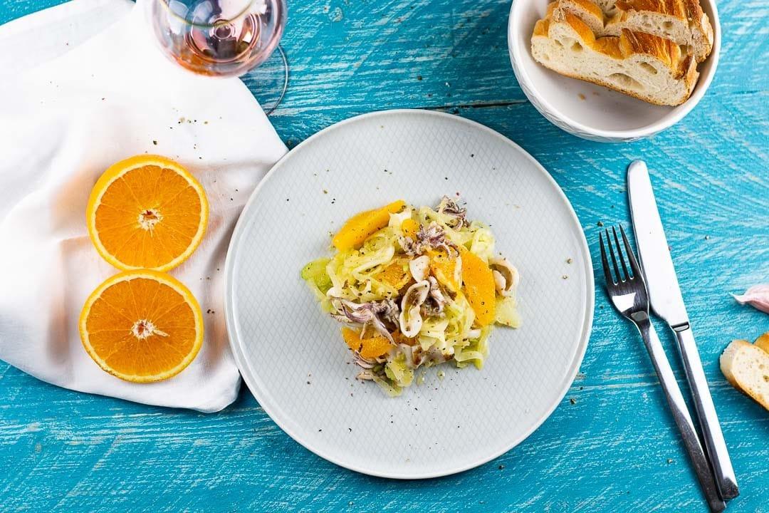 Fenchel Salat mit Calamares