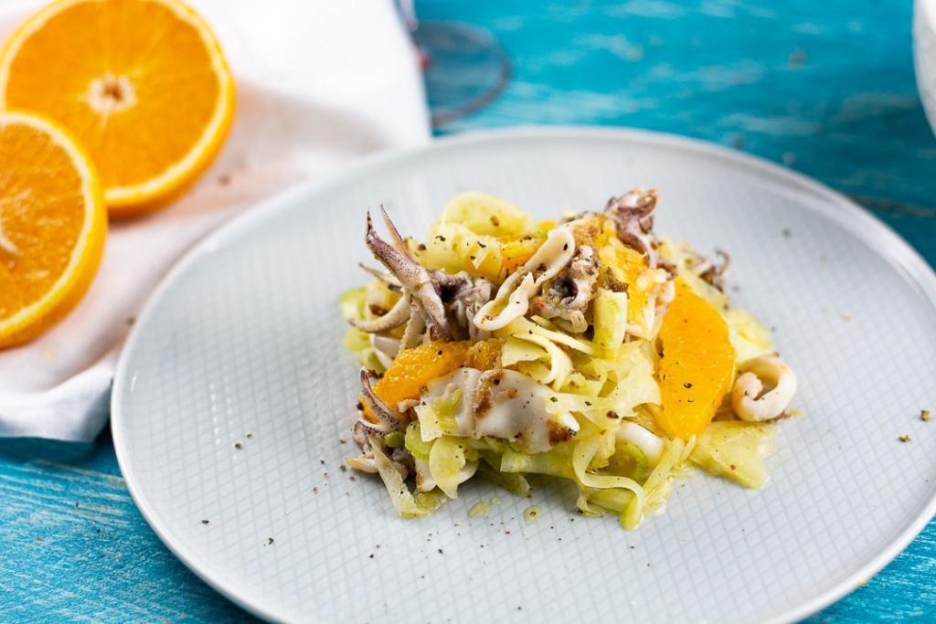 Rezept enchel Salat mit Calamares