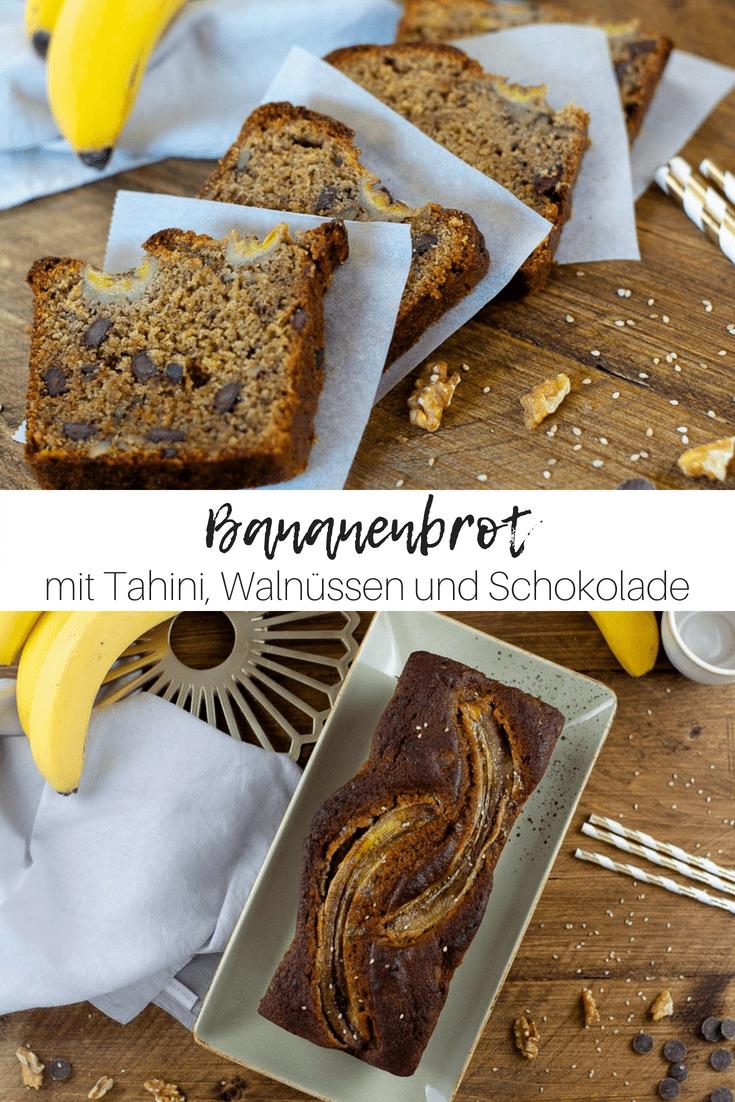 Saftiger Bananenkuchen mit Tahini, Walnüssen und Schokolade – ein bisschen Zimt dazu und schon ist der ultimative Feel Good Kuchen perfekt! #kuchen #bananenkuchen #banane #schokolade #backen