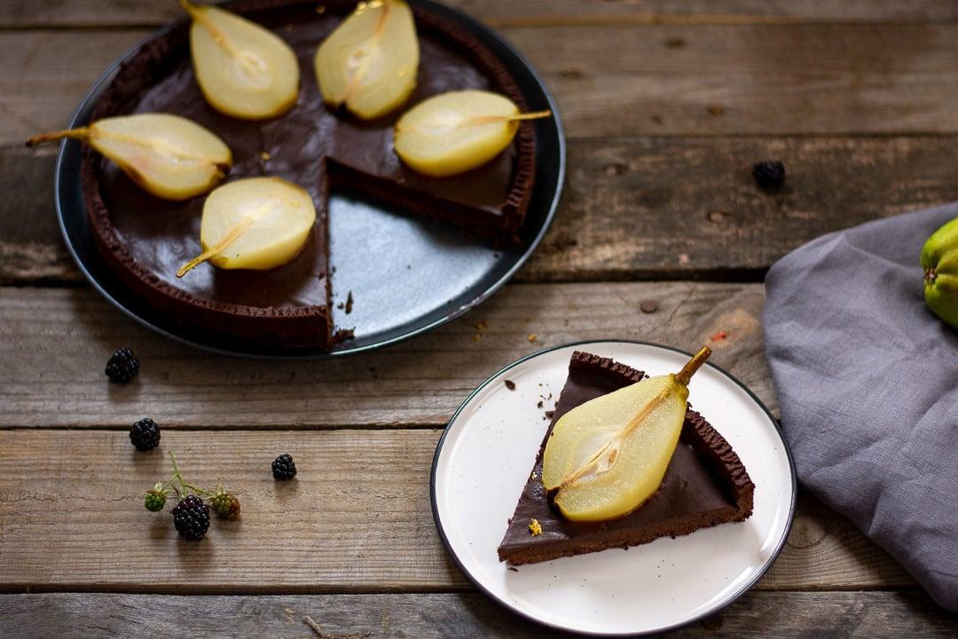 Birnen Tarte mit Schokoladen und Schokocreme