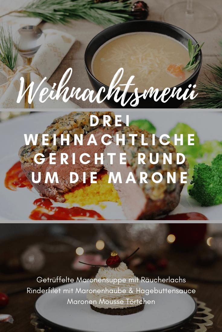 Bei einem Weihnachtsmenü darf die Nachspeise nicht fehlen. Die leckeren Maronen Mousse Törtchen komplettieren das perfekte Weihnachtsmenü rund um die Marone. #weihnachtsmenü #rezept #weihnachten #menü #abendessen #kochen #backen #heissehimbeeren