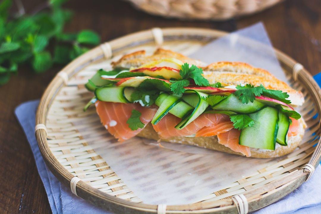 Lachs Sandwich mit Wasabicreme
