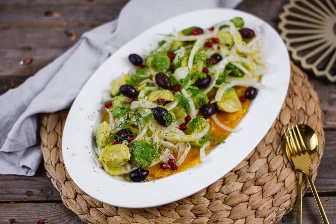 Fenchelsalat mit Avocado und Oliven