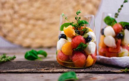 Schneller Melonen Caprese Salat
