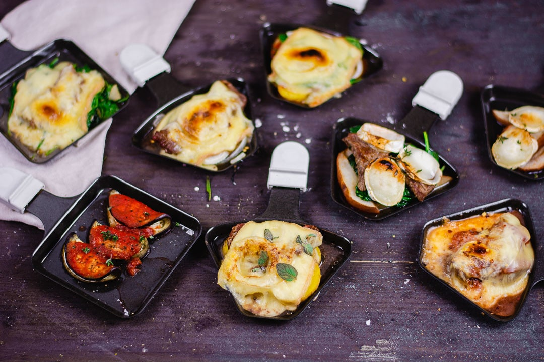 8 verschiedene Raclette Pfännchen