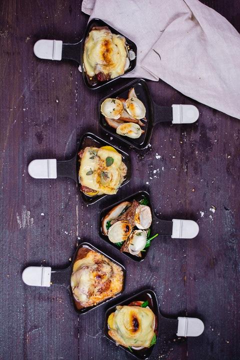 Verschiedene Raclette Ideen auf Raclette Pfannen