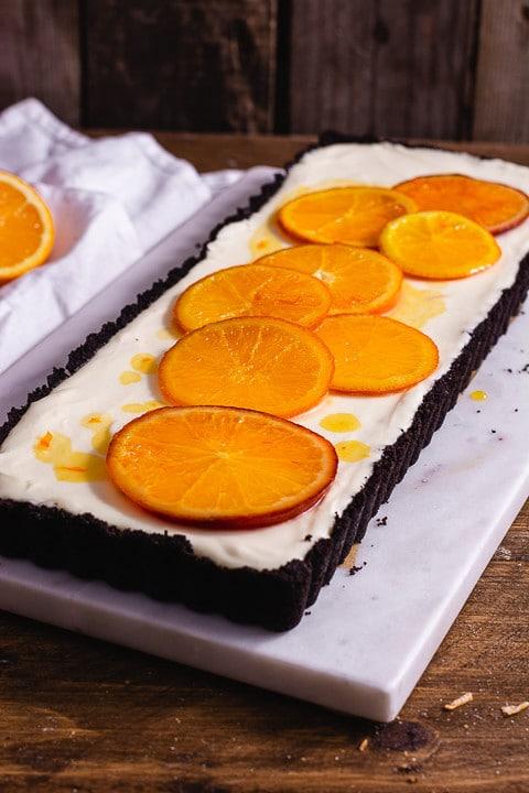 Orangen Tarte Closeup