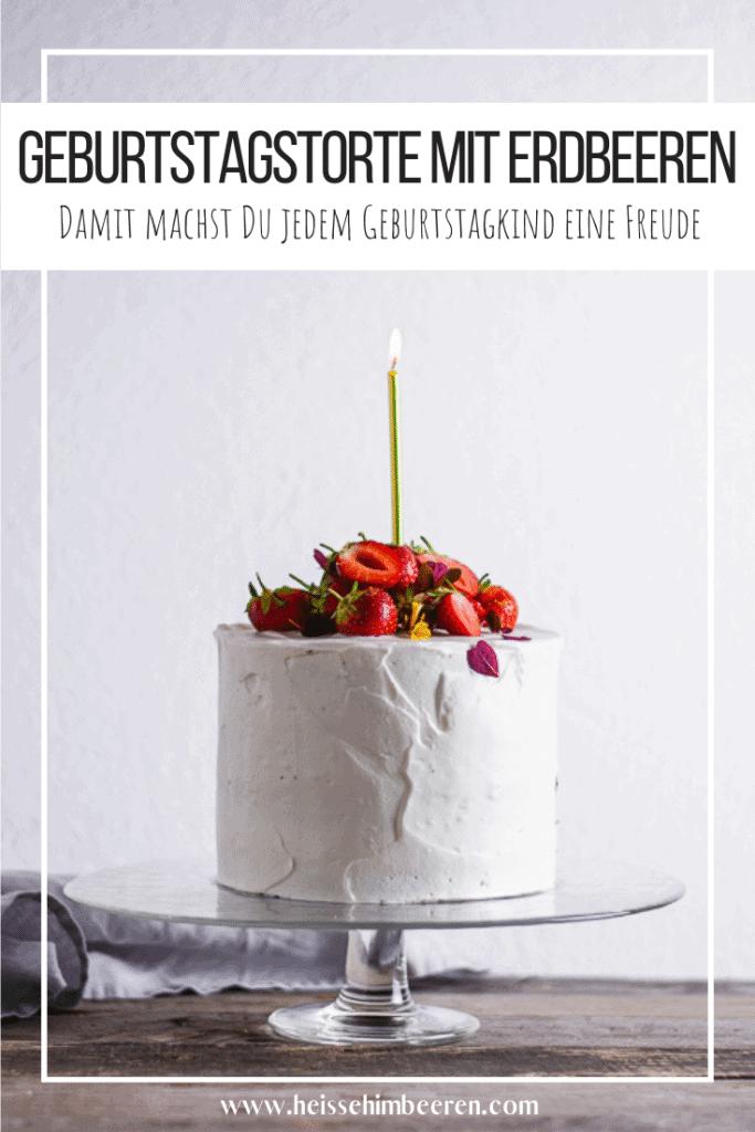 Geburtstagskuchen mit Erdbeere Pinterest Grafik