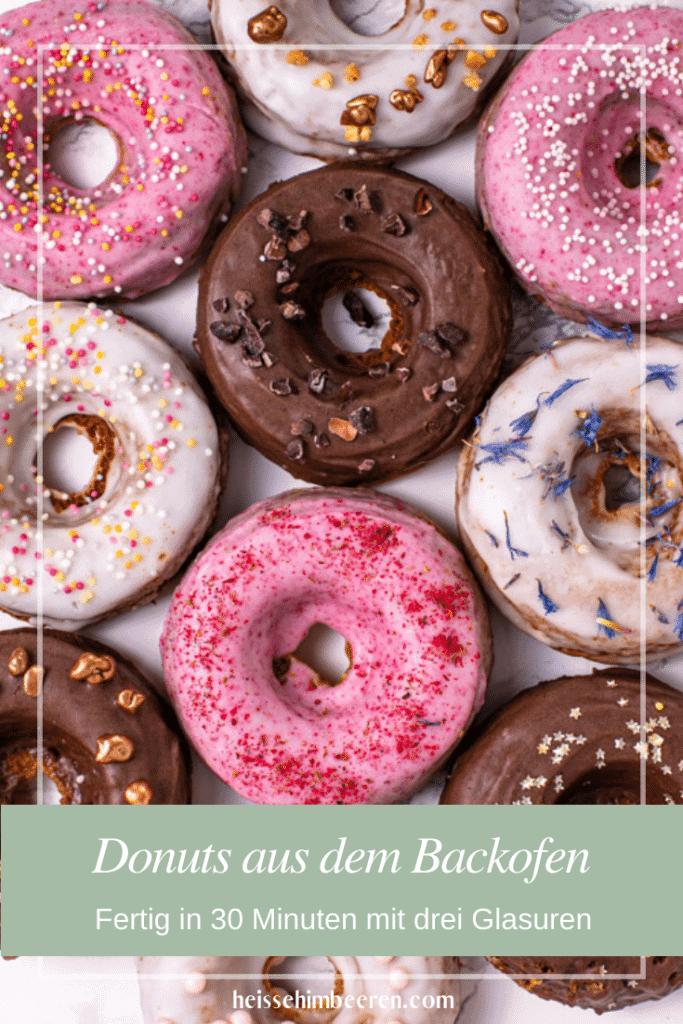 Für Pinterest optimierte Grafik der Donuts aus dem Backofen.